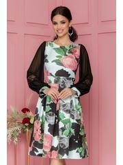Rochie Moze cu imprimeu floral roz prafuit si pliuri maxi in talie
