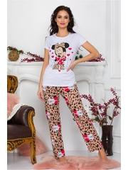 Pijama Minnie Me cu tricou alb si pantaloni cu animal print