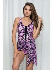 Costum de baie Ladystyle mov intreg cu pliuri in zona abdomenului