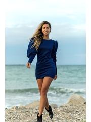 Rochie LaDonna albastra cu sclipici si maneci bufante