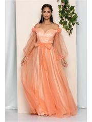 Rochia Lucinda peach din tulle cu decolteu en-coeur si cordon in talie