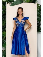 Rochie albastru cu pliuri mari pe fusta si paiete la bust