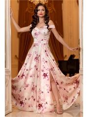 Rochie Ariana roz pal lunga cu imprimeu floral