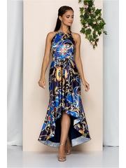 Rochie asimetrica MBG bleumarin cu imprimeu colorat