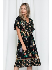 Rochie Anca neagra cu imprimeu floral si talie elastica