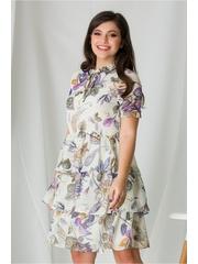 Rochie Ania ivory cu imprimeuri lila
