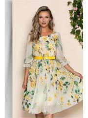 Rochie Diana bej cu imprimeu floral galben si pliuri pe fusta