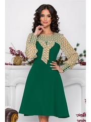 Rochie Ella Collection Andrada verde cu imprimeuri geometrice