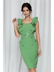 Rochie MBG verde mint cu volanase la umeri si nasturi decorativi