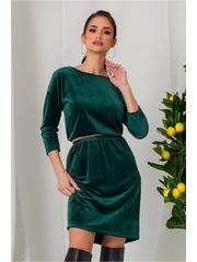 Rochie Rachel verde din catifea cu elastic in talie