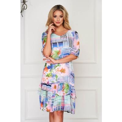 Rochie StarShinerS albastra de zi midi cu un croi drept cu volanase la baza rochiei din voal cu imprimeuri florale