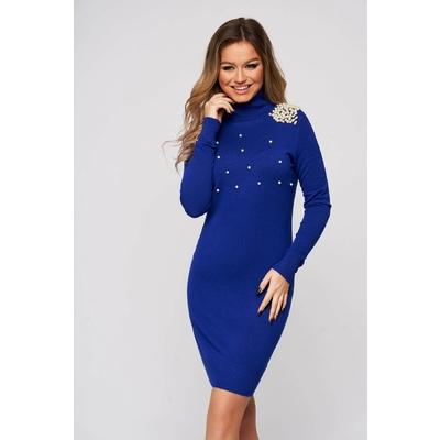 Rochie SunShine albastra din material elastic si fin scurta cu un croi mulat cu aplicatii cu perle