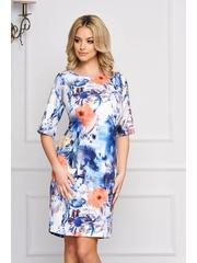 Rochie alba eleganta scurta din stofa cu un croi drept si imprimeuri florale
