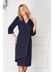 Rochie albastra eleganta midi asimetrica tip creion cu maneci trei-sferturi