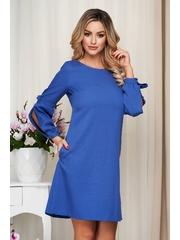 Rochie albastra office din stofa usor elastica cu croi larg cu maneci bufante crapate si cu fundita