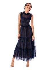 Rochie Ana Radu albastru-inchis de lux de ocazie midi tip corset in clos din dantela pe gat fara maneci