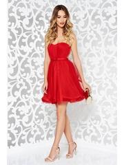 Rochie Ana Radu rosie de lux tip corset din tul captusita pe interior cu bust buretat accesorizata cu cordon