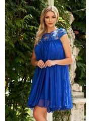 Rochie Artista albastra de ocazie scurta din material usor transparent