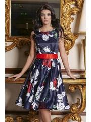 Rochie Artista albastru-inchis midi de ocazie din satin croi in clos fara maneci accesorizata cu cordon si imprimeu floral