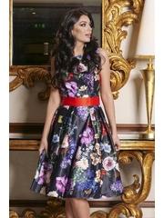 Rochie Artista neagra midi de ocazie din satin croi in clos fara maneci accesorizata cu cordon si imprimeu floral