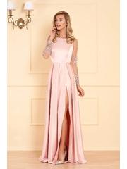 Rochie Artista roz de ocazie croi in clos din material satinat cu maneci din dantela