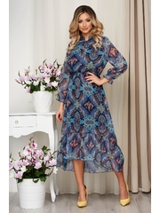 Rochie cu imprimeuri grafice din voal clos cu elastic in talie captusita pe interior