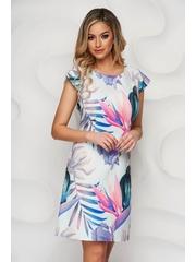 Rochie Lady Pandora cu imprimeu abstract din material elastic cu croi in a cu decolteu rotunjit