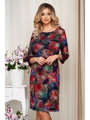 Rochie Lady Pandora cu imprimeu floral din tricot gros elastic si fin midi tip creion