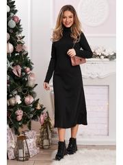Rochie neagra SunShine tricotata lunga cu croi in a pe gat
