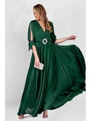 Rochie PrettyGirl verde petrol lunga de ocazie din voal usor satinat in clos cu maneci decupate