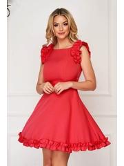 Rochie rosie eleganta scurta din stofa cu volanase la maneca