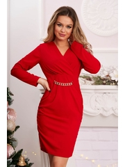 Rochie rosie scurta de party tip creion din material incretit in laterale
