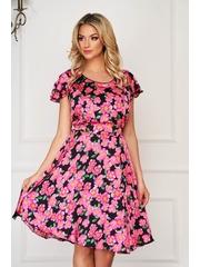 Rochie roz eleganta de zi in clos cu maneca scurta din voal cu imprimeu floral