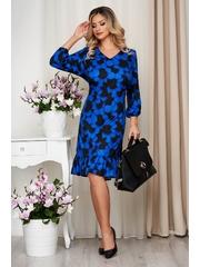 Rochie StarShinerS albastra cu croi larg cu volanase cu imprimeuri grafice din material neelastic