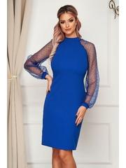 Rochie StarShinerS albastra eleganta midi din material usor elastic cu maneci din dantela