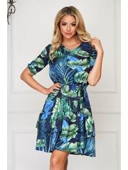 Rochie StarShinerS albastru-inchis de zi scurta clos cu elastic in talie cu volanase la baza rochiei