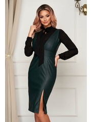 Rochie StarShinerS din piele ecologica verde office midi tip creion