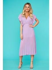 Rochie StarShinerS lila eleganta midi plisata cu decolteu in v din voal cu elastic in talie