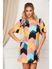 Rochie StarShinerS multicolora eleganta cu croi in a din stofa usor elastica