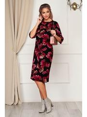 Rochie StarShinerS neagra de zi midi tricotata cu imprimeu floral cu un croi drept