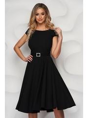 Rochie StarShinerS neagra eleganta midi din stofa accesorizata cu o centura