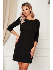 Rochie StarShinerS neagra eleganta scurta cu un croi drept din stofa usor elastica