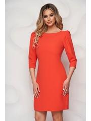 Rochie StarShinerS portocalie din stofa usor rigida scurta cu un croi drept si umeri incretiti