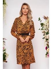 Rochie StarShinerS portocalie midi eleganta cu croi drept decolteu petrecut in v cu elastic in talie cu maneci lungi si accesoriu tip curea