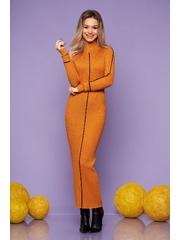 Rochie SunShine mustarie casual lunga de zi tip creion pe gat tricotata cu un croi cambrat