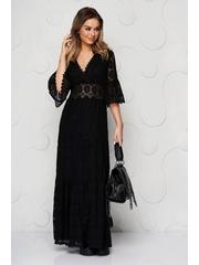 Rochie SunShine neagra cu suprapunere de dantela clos cu elastic in talie captusita pe interior