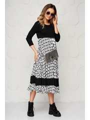 Rochie SunShine neagra midi plisata cu croi larg din material fin la atingere