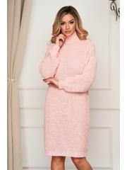 Rochie SunShine roz deschis pe gat tricotata din material elastic cu croi larg