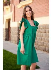Rochie SunShine verde din poplin cu croi larg cu volanase cu decolteu adanc patrat