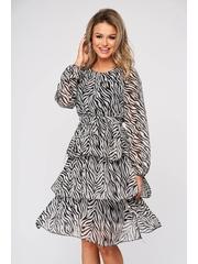 Rochie SunShine zebra print scurta de zi din voal in clos cu volanase